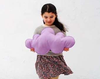 Cloud Pillow- Organic Wool- Lavendar Purple- AS SEEN on Cover of Today's Parent - Wool Cushion - Modern kids