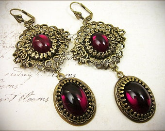 Garnet Renaissance Earrings, Red, Borgias, Tudor Costume, Medeival, Bridal Jewelry, Ren Faire, Garb, Queen, Victorian Chandeliers, Wedding