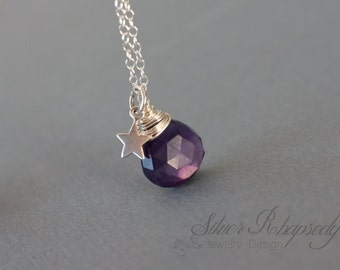 Sterling Silver Celestial Amethyst Necklace with a Star - February Birthstone - delicate