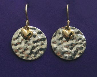 Solid 14K Yellow Gold Heart and Sterling Silver Hammered Disc Earrings
