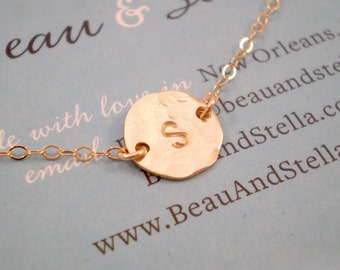 Tiny Hammered Initial Necklace - Simple Hammered Tiny Hammered Coin Disc on Delicate Chain