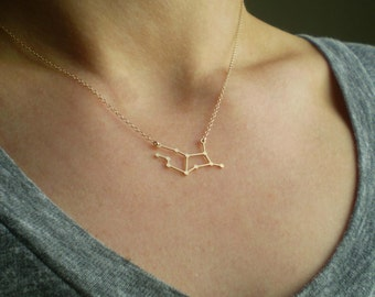 Virgo Constellation Necklace, Zodiac Constellation Necklace, Astrology, Stars