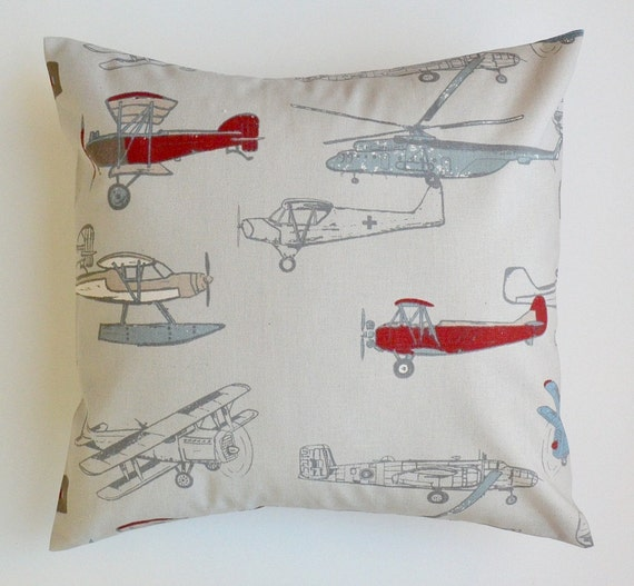 Decorative Throw Pillow Cover Airplane by Beeyourselfdesigns
