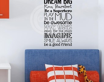 Boy version Kid Rules subway art vinyl lettering wall saying decal quote sticker nursery child room