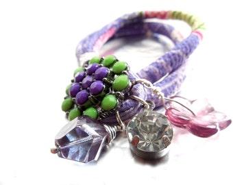Wrap Bracelet, Lilac Green Floral Kimono Fabric Wrap Bracelet,  Charm Bracelet ,Crystal Button, Chirimen Cord Fabric