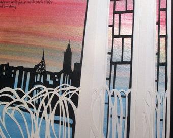 Lincoln Center Fountain ketubah - papercut wedding artwork