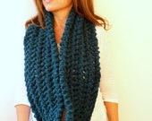 Womens Gift Infinity Scarf Chunky Thick Knit Scarf Teal Blue Patrol Blue Hand Knit Lace