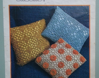 Vintage Crochet Pattern 1970s - Three Cushion / Pillow Covers lacy design with flowers Twilley's Pattern No. 5870 UK - 70s original pattern