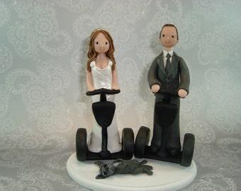Bride & Groom on Segway Custom Made Wedding Cake Topper