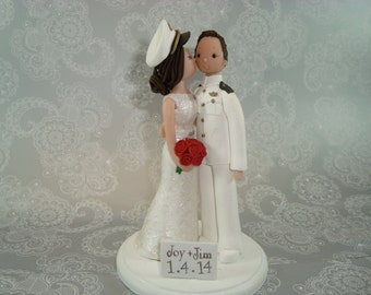 Customized Bride & Groom Military Wedding Cake Topper