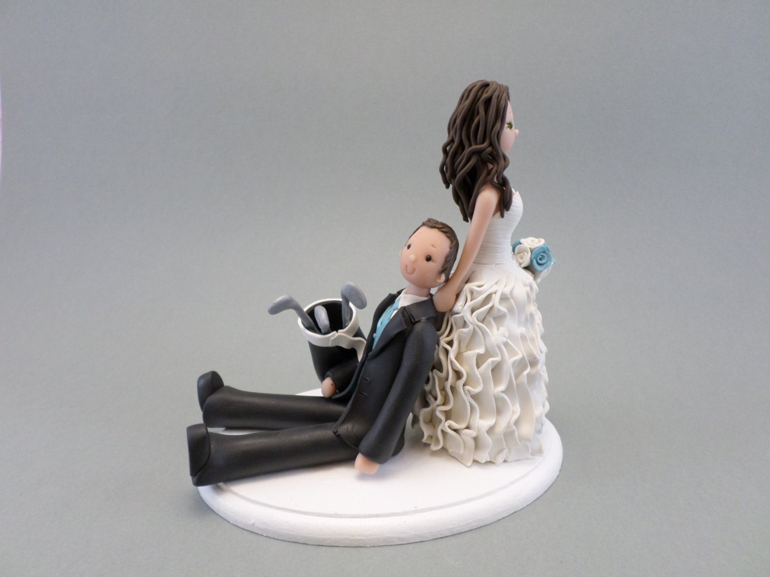 golf ball wedding cake topper dragging groom golfer custom made wedding cake topper 14842