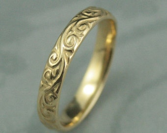Yellow gold Patterned Wedding Band--Solid 14K Yellow Gold Flourish le Femme Wedding Band--Solid Gold Swirl Patterned Wedding Ring
