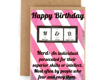 Funny Birthday Card - Chemistry Nerd Geek Periodic Table Breaking Bad - Raspberry and White