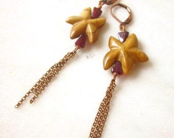 Starfish dangle earrings, jasper earrings, stone drop earrings, chain dangle earrings, summer earrings, long earrings