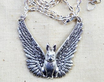 Guardian Bunny Angel Necklace Hand Crafted Winged Rabbit with Feathers Pet Memorial Long-ear Cottontail Bunny Coney Hare
