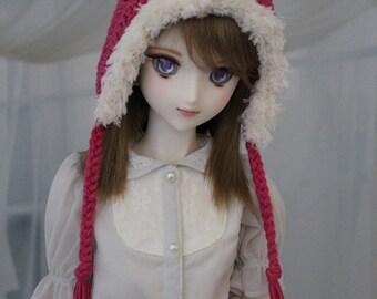 SD BJD Hat Pixie Stlye with Fluffy Trim, 1/3 Doll size 8-9, Dollfie Dream Crochet Hat