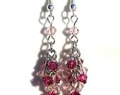 Fuschia and Vintage Rose Swarovski crystal earrings