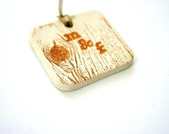 Ceramic Monogram Tags - Personalized Set of 50 - Wedding Decor - Handmade - Clay Art - Natural Rustic Favor  - Wedding Shower Decor