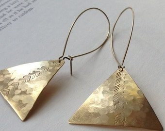 Hammered brass triangle earrings with arrows, Long brass stamped geometric earrings