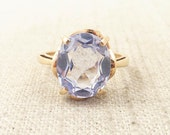 Antique 10k Gold Victorian Ring with Oval Cut Blue Topaz Cabochon Size 6.25