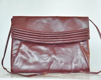 Vintage 1980's Purse Burgundy Leather Crossbody vintage Handbag Clutch