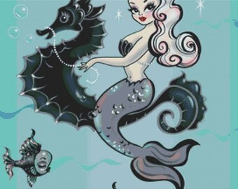 Cross Stitch Kit By Fluff ' Pearla ' - Mermaid, fish , seahorse and bubbles NeedleCraft kit