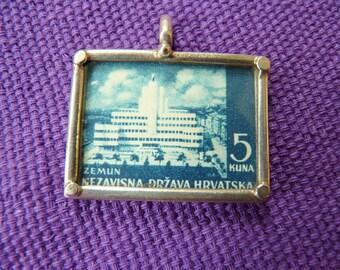 Vintage Stamp Pendant with Sterling Frame