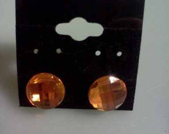 Orange Sparkle Button  Earrings