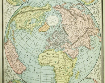 1888 Vintage World Map - Old World Map - Antique World Map - The World in Circles