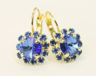 Sapphire Blue Earrings Royal Blue Wedding,Something Blue Royal Blue Gold Drop earrings  swarovski Crystals rhinestones Gold,Sapphire,GE96