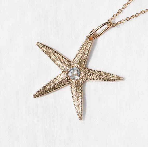 Solid 10k Yellow Gold Starfish Charm with Faceted White Topaz Center