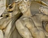 Male Nude Fountain Photograph, Art Nouveau Art Print, Greek God Wall Art, Architectural Detail Photography,Washington DC Art,Gold Grey Photo