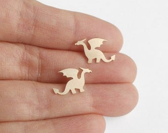 Dragon Earring Studs In 9ct Yellow Gold, Handmade In The UK By Huiyi Tan