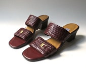 vintage Etienne Aigner Woven Burgundy Leather Sandals NOS / made in Brazil