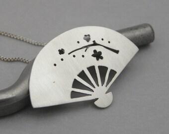 Japanese Paper Fan Necklace - Sterling Silver