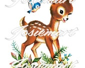 Vintage Digital Download Deer with Bird in Grass Kawaii Vintage Image Collage Large JPG and PNG