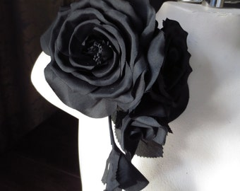 BLACK Silk Rose Millinery Corsage for Bridal, Millinery MF118