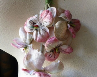 Pink Pansies WITH LEAVES Velvet Millinery  for Bridal, Boutonnieres, Wreaths, Crowns, Hats, Costumes MF 205