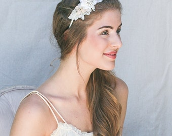 Vintage Lace, Pink Leaves and Petals Headband, Wedding Hair, Headpiece, Wedding Hair Accessory, Pink and Ivory Vintage Wedding Headpiece