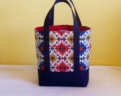 BIBLE TOTE Journaling Bible Tote Perfect Size for your Bible, Journal, Pens, Study guides. Southwestern print with Navy and Red Canvas