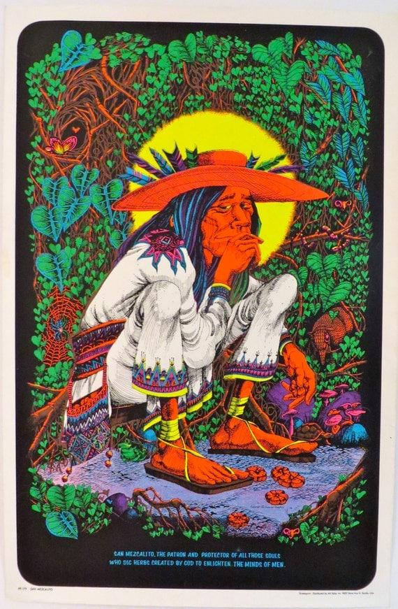 VINTAGE 70'S SAN MEZCALITO Black Light POSTER Rick. - PicClick