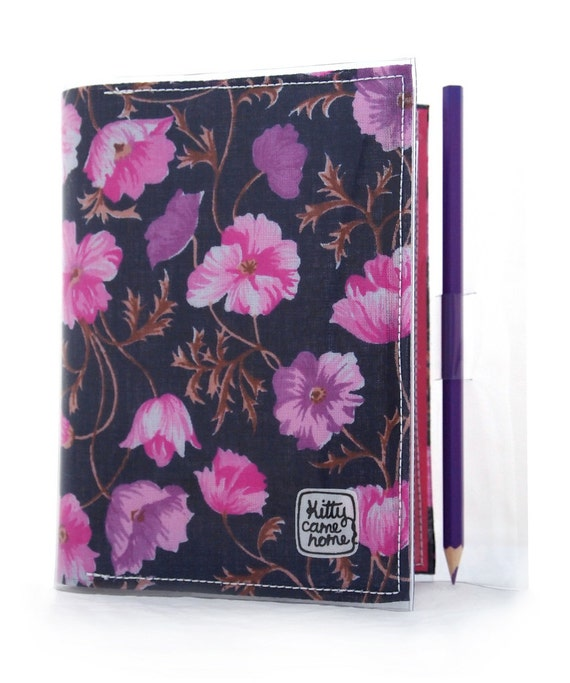 A6 Journal - Navy blue pink and purple floral vintage fabric