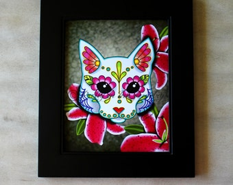 CLEARANCE - Day of the Dead White Cat Sugar Skull Art Print - 8 x 10 - Prints for Pits Rescue Donation