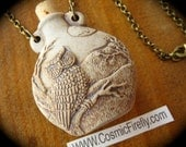 Wise Owl Necklace Rustic Brown High Fired Ceramic Bottle Necklace Antiqued Brass Rolo Chain Pendant Necklace Cork Bottle Ashes Miniature Urn