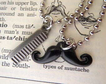 Handlebar Mustache Necklace & Miniature Comb Necklace His And Hers Steampunk Necklace Set Of 2 Friendship Necklaces Victorian Moustache