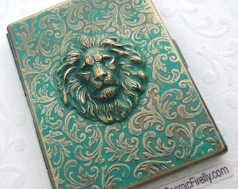 Green Lion Cigarette Case Green Verdigris Painted Finish Handcrafted Vintage Inspired Victorian Steampunk Case From Cosmic Firefly Las Vegas
