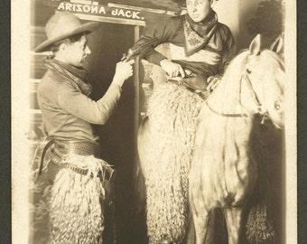 Cowboys Drawing Guns - Sheepskin Chaps - Arcade Photo - 1910s RPPC