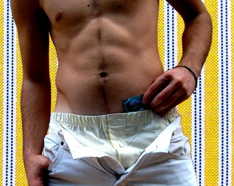 the YELLOW STRIPED boxers with the amazing hidden pocket  #DifferenceMakesUs/ pajama bottoms/ Gifts for Boyfriends under 25 usd