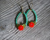 Frida's garden earrings  in  turqouise and red orange