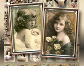 1x1.5 inch size images LITTLE VINTAGE MODELS for 25x35mm pendant trays, glass cabochons, magnets Digital Collage Sheet Printable download
